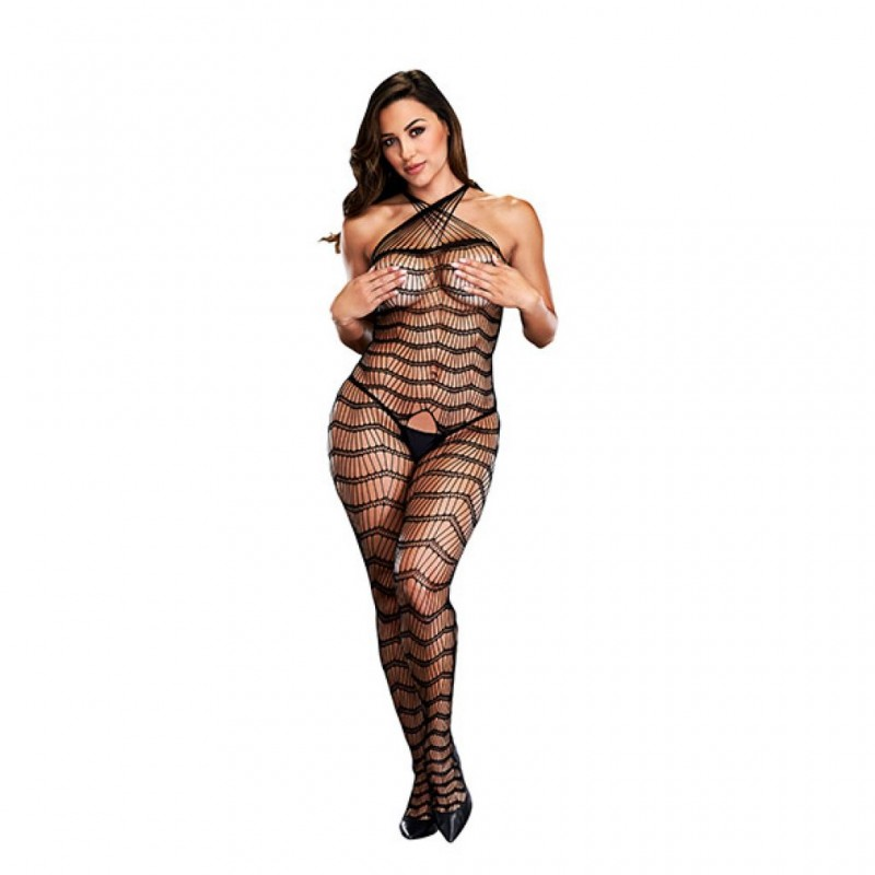 Bodystocking z wycięciem w kroku - Baci Criss Cross Crotchless Bodystocking One Size