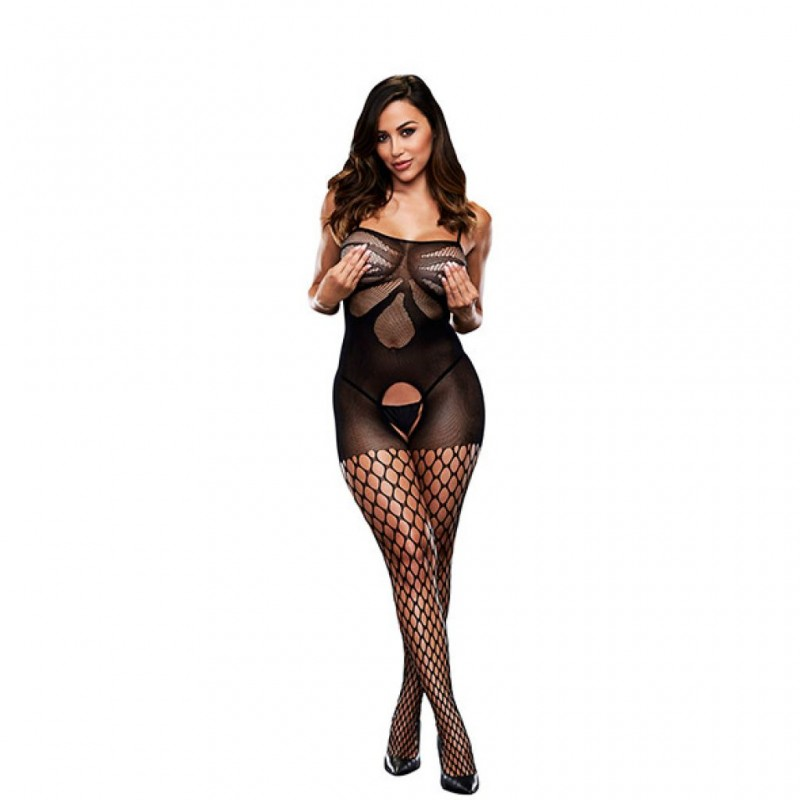 Bodystocking z wycięciem w kroku - Baci Crotchless Jacquard Bodystocking One Size